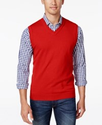 Club Room Men's Big And Tall V Neck Sweater Vest Red River