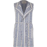 River Island Womens Blue Aztec Print Sleeveless Jacket