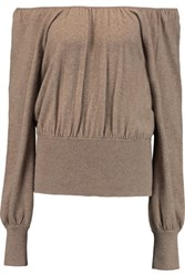 Michael Kors Collection Off The Shoulder Cashmere Sweater Mushroom
