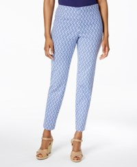 Charter Club Iconic Print Side Zip Slim Ankle Pant Only At Macy's Modern Blue Combo