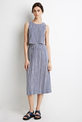 Forever 21 Stripe Midi Skirt Cream Blue
