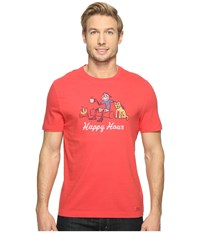 Life Is Good Happy Hour Campfire Crusher Tee Americana Red Men's T Shirt