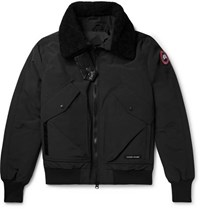 Canada Goose Bromley Shearling Trimmed Canvas Down Bomber Jacket Black