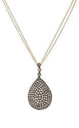 Renee Lewis Women's Pear Shaped Pendant Necklace Silver