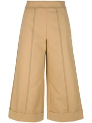 Msgm Wide Leg Cropped Trousers Brown