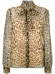 Red Valentino Pussy Bow Leopard Blouse Brown