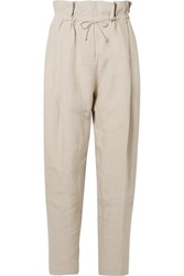 Acne Studios Paoli Pleated Linen Tapered Pants Beige