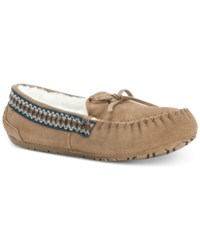 Muk Luks Women's Jane Suede Moccasin Slippers Light Brown