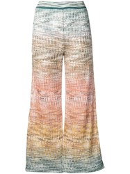 Missoni Knitted Crop Trousers Blue