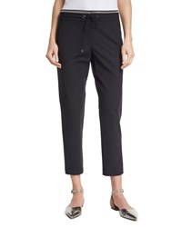 Brunello Cucinelli Monili Trim Wool Blend Track Pants Onyx