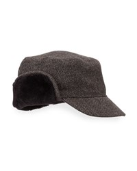 Neiman Marcus Shearling Trim Herringbone Newsboy Cap Brown Herr