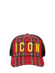 Dsquared Icon Mesh Canvas Baseball Hat Red Yellow