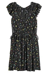 The Kooples Printed Silk Dress With Lace Black