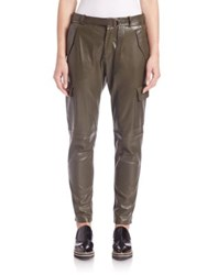 Set Leather Cargo Pants Dark Khaki