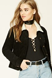 Forever 21 Padded Corduroy Jacket Black