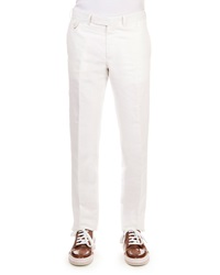 Berluti Linen Cotton Blend Flat Front Trousers White