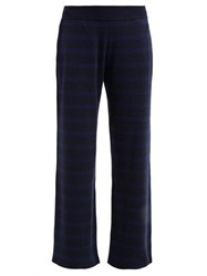 Barrie Rib Knitted Cashmere Track Pants Navy Multi