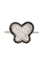 Savvy Cie Sterling Silver Micro Pave Simulated Diamond Butterfly Ring Black