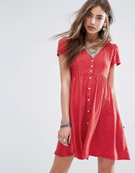 Denim And Supply Ralph Lauren By Babydoll Dress With Ditsy Star Print Red