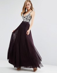 Needle And Thread Motif Tulle Maxi Dress Aubergine Ecru Purple