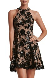 Women's Dress The Population 'Abbie' Sequin Fit And Flare Dress Black Nude