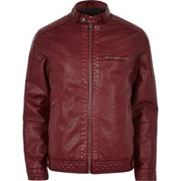 River Island Mens Red Faux Leather Racer Jacket