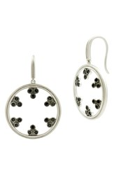 Freida Rothman Industrial Finish Drop Earrings Black Silver