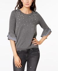 Amy Byer Bcx Juniors' Embellished Bell Sleeve Top Heather Charcoal