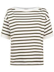 Jaeger Cotton Boat Neck Striped Top Ivory