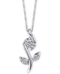 Sirena Diamond Flower Pendant Necklace 1 8 Ct. T.W. In 14K White Gold