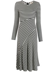 Michael Michael Kors Stripe Panelled Midi Dress Black