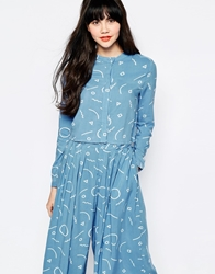 The Whitepepper Cropped Shirt In Doodle Print Blue