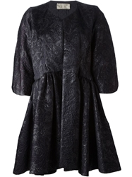 Gianfranco Ferre Vintage Flower Embossed Coat Black