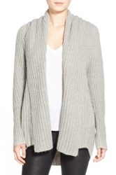 Leith Hooded Fuzzy Open Front Cardigan Gray