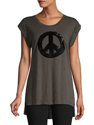 Kenneth Cole High Low Graphic Tank Top Bark