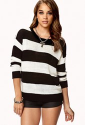 Forever 21 Rugby Stripe Sweater Black Cream