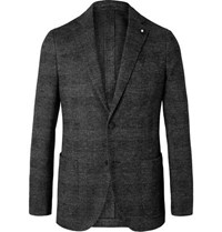 Lardini Grey Slim Fit Unstructured Prince Of Wales Checked Wool And Cotton Blend Blazer Black