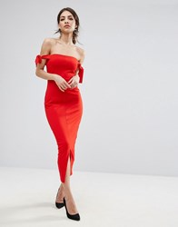 Lavish Alice Bardot Midi Dress With Tie Sleeve Detail Red