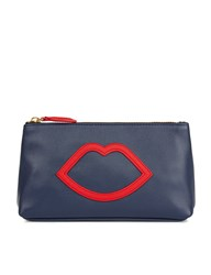 Lulu Guinness Navy And Red Cut Out Lip Clutch