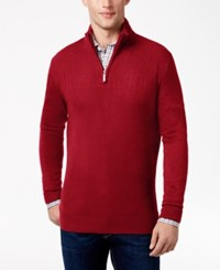 Geoffrey Beene Men's Quarter Zip Drop Needle Sweater Deep Red