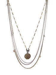 Miriam Haskell Multi Layered Faux Pearl Pendant Necklace Hematite