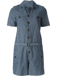 A.P.C. Belted Playsuit Blue