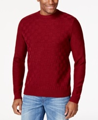 Geoffrey Beene Basketweave Crew Neck Sweater Wine