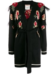 Twin Set Floral Intarsia Cardigan Black