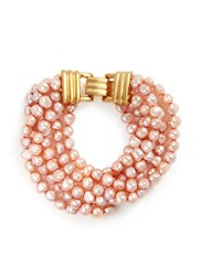 Kenneth Jay Lane Multi Strand Baroque Pearl Bracelet Pink