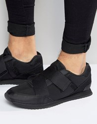 Asos Trainers In Black With Cross Over Elastic Black