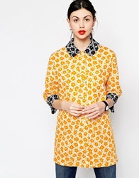 Love Moschino Floral Jacket With Black Contrast Cuffs And Collar Yellow