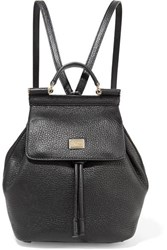 Dolce And Gabbana Sicily Small Textured Leather Backpack Black