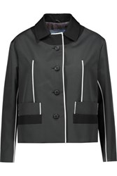 Prada Color Block Wool And Silk Blend Blazer Anthracite