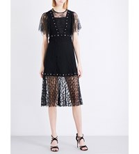 Sandro Fit And Flare Floral Lace Dress Black